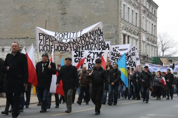 Protest producentów trzody chlewnej w Łodzi