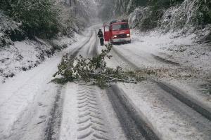 Utrudnienia w ruchu związane z silnym wiatrem, opadami śniegu i deszczu
