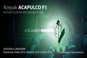 Rzepak ozimy F1 Acapulco- wysokie plonowanie potwierdzone w pierwszych wynikach z doświadczeń PDO w 2017