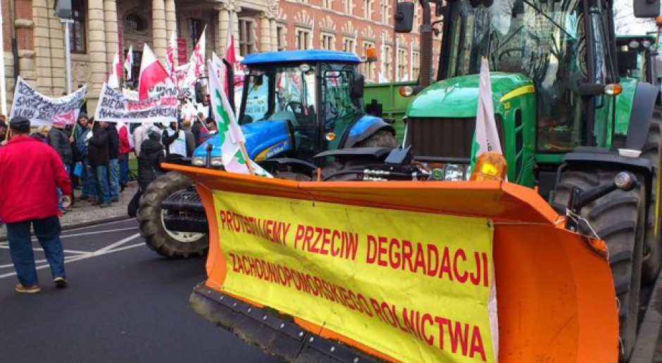 Protest związkowców i rolników w Szczecinie