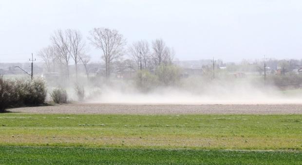 Silne wiatry i chmury pyłu nad polami