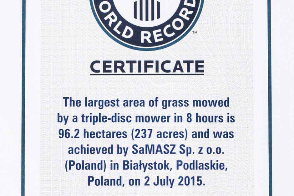 Certyfikat ustanowienia rekordu Guinnessa dla SaMaszu, fot. SaMaasz