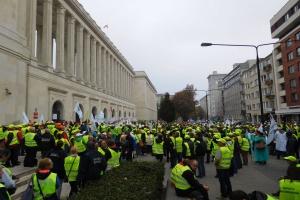 Protest pracowników inspekcji weterynaryjnej w Warszawie