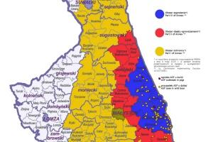 Obszar zagrożenia, czyli tzw. strefa niebieska obejmuje sześć gmin na Podlasiu. fot. PIW-PIB w Puławach.