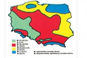 Termin siewu pszenicy jarej, źródło: J. Kuś, K. Jończyk