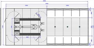 Schemat ustawienia tuczarni pod wagę sortującą Domono Pig Sort