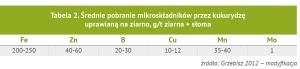 Średnie pobranie mikroskładników przez kukurydzę uprawianą na ziarno, g/t ziarna + słoma; źródło: Grzebisz 2012 - modyfikacja