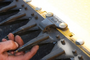 Stępione lub wyszczerbione nożyki powodują niedokładne cięcie i osypywanie ziarna. Mocniej obciążają również układ napędzający, fot. K. Hołownia