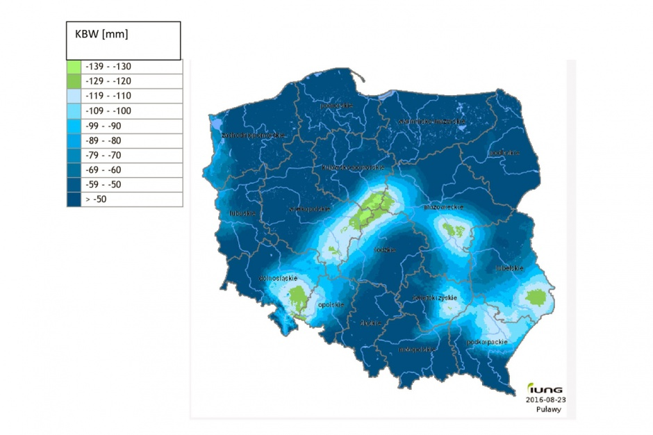Wartości KBW na terenie Polski względem poprzedniego okresu raportowania uległy zmniejszeniu. Średnio są niższe o 12 mm. Fot; IUNG Puławy