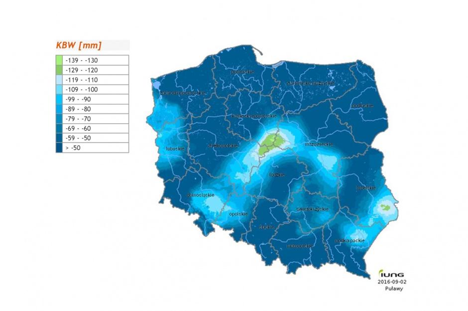 Największy deficyt wody odnotowano w Centrum Kraju oraz w południowo-wschodniej części Wyżyny Lubelskiej (Roztocze). Fot; IUNG PIB Puławy