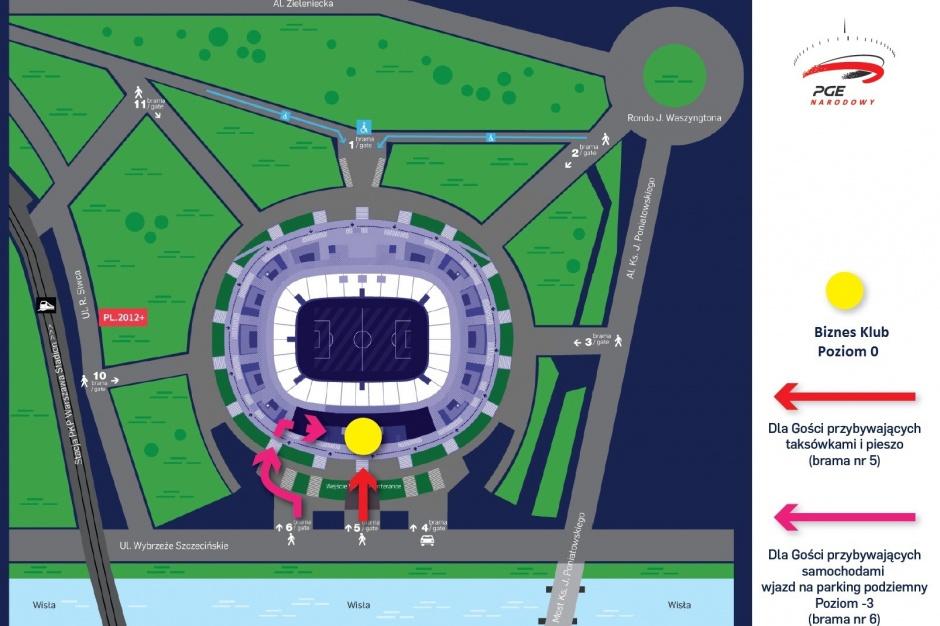 Mapa Wjazdu - Brama nr 5 i 6 - Biznes klub
