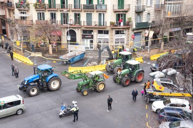 Protest rolników w Barcelonie