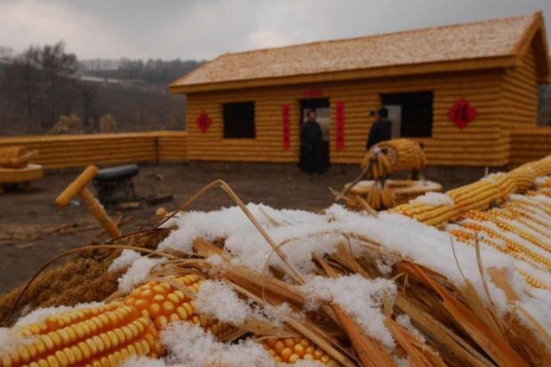 Chiński rolnik stworzył dom z kolb kukurydzy