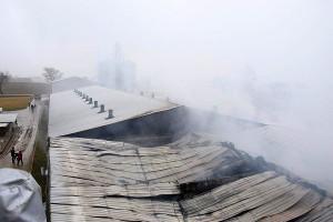 Dach na płonącej chlewni zapadł się.