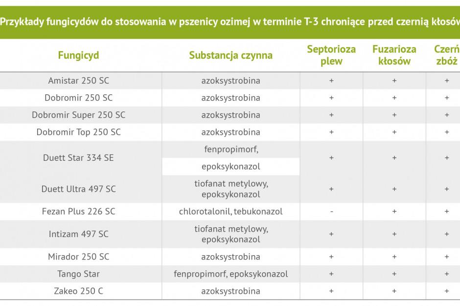 Przykłady fungicydów do stosowania w pszenicy ozimej w terminie T3  chroniące przed czernią kłosów