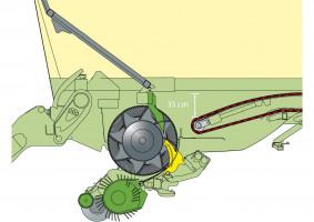 Najpopularniejszy schemat działania zespołu załadowczego: materiał podbierany jest przez podbieracz, następnie trafia pod palce rotora, który przepycha go przez noże komorą znajdującą się za nim i ładuje na przyczepę
