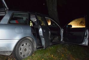 Kierująca audi po zderzeniu z traktorem wjechała w drzewo