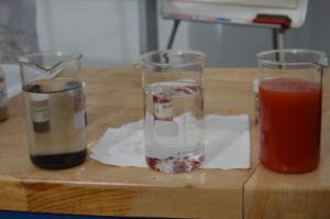 Środkowa i prawa menzurka zawierają tą samą ilość miedzi, pod tą samą postacią chemiczną oraz o tej samej granulacji. Rożnicą jest pochodzenie, czyli źródło pozyskania surowca; Fot. Katarzyna Szulc