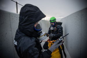 Protest na chłodni kominowej zakończono ze względu na zbytnie zatrucie powietrza