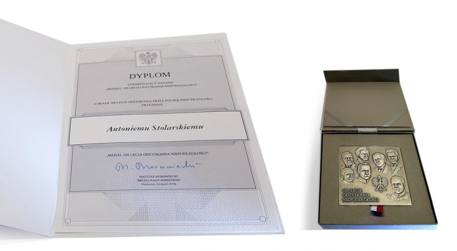 Prezes SaMaszu uhonorowany na 100-lecie odrodzenia Polski
