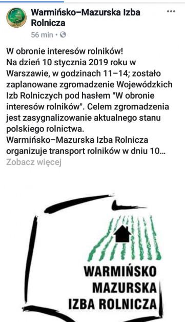 Źródło: Facebook/Warmińsko-Mazurska Izba Rolnicza