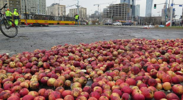 Płonące opony, rozrzucone jabłka, wybuchające petardy. AGROunia protestowała w centrum Warszawy