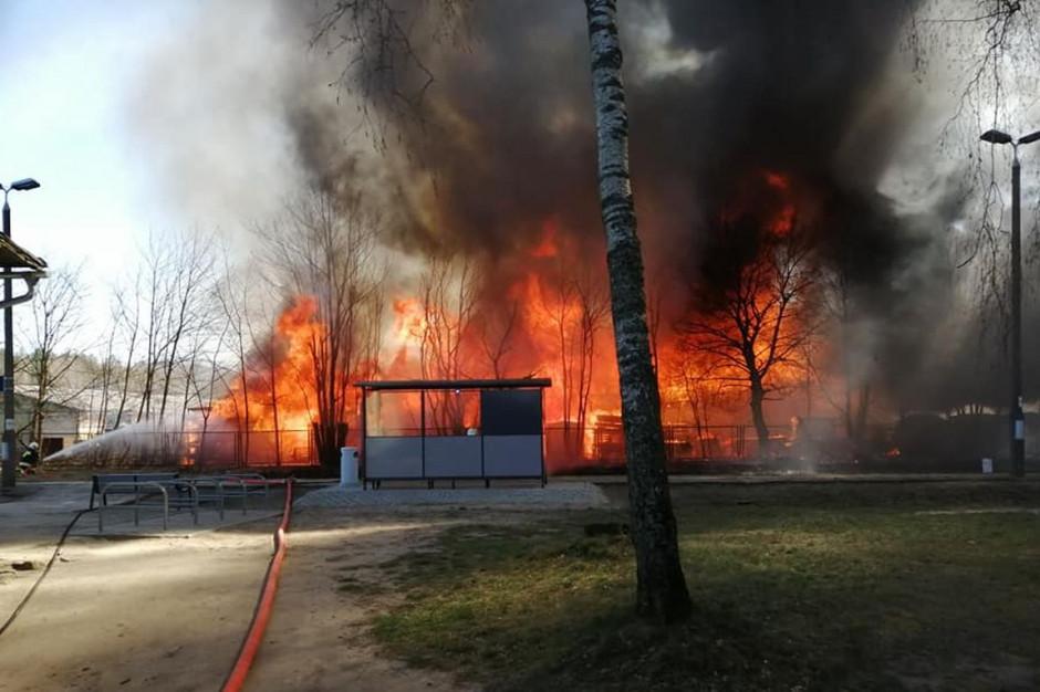Wielki pożar zagrażał pobliskim lasom i stacji; Fot. OSP Raduń, OSP Lipusz
