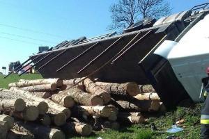 Kierowca wywrócił ciężarówkę z drewnem, bo przestraszył się owada