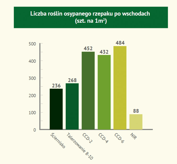 Liczba roślin osypanego rzepaku po wschodach [szt. na 1m2]