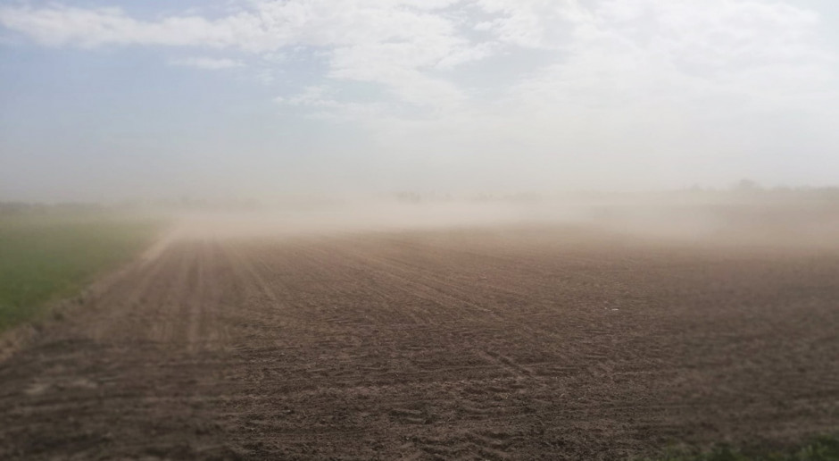 Chmury pyłu i piasku nad polami