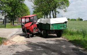 Traktorzysta nie ustąpił pierwszeństwa przejazdu