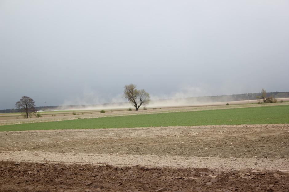 Wczesna, sucha wiosna, kiedy wiele pól nie jest jeszcze obsianych, sprzyja zjawisku erozji wietrznej. Porwane przez wiatr drobiny gleby mogą zostać przemieszczone na znaczne odległości