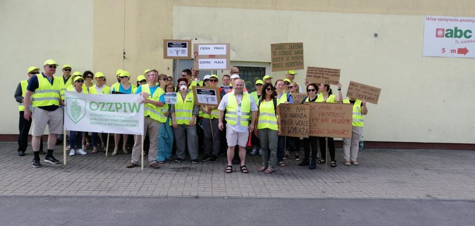 Protest pracowników Inspekcji Weterynaryjnej w Wielkopolsce (Fot. OZZPIW)