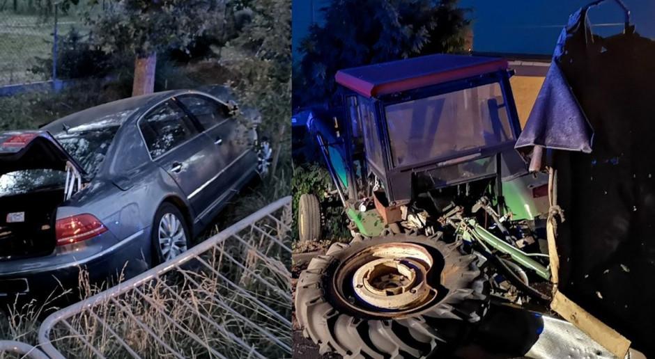 Pijany pirat drogowy uderzył w traktor i uciekł