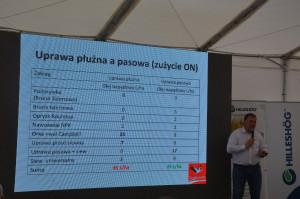 Maciej Czajkowski podczas prezentacji omawiającej jego drogę od uprawy orkowej do pasowej an gospodarstwie w Sokołowie. Na slajdzie porównanie zużycia paliwa w technologii orkowej i pasowej