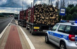 Policjanci z białostockiej drogówki zatrzymali na drodze krajowej nr 8 samochód ciężarowy, który przewoził niewłaściwie zabezpieczone drzewo, Foto: Policja
