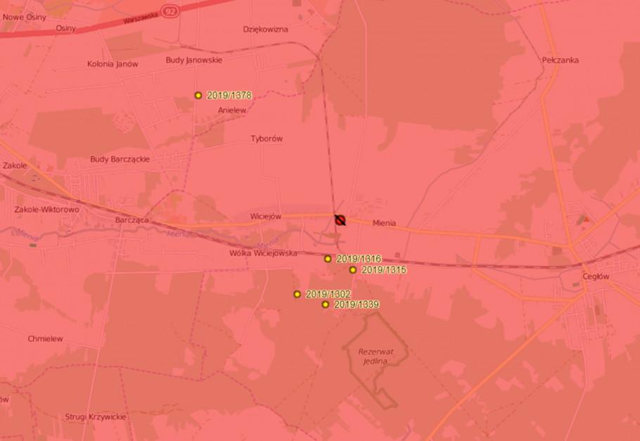 Na czerwono zaznaczone miejsce 20. ogniska