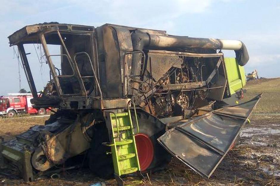 W Malankowie spłonął kombajn za 350 tysięcy złotych, fot. PSP Chełmno