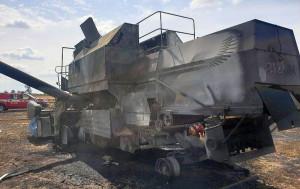 Kombajn Bizon spłonął doszczętnie, Foto: KP PSP Ciechanów