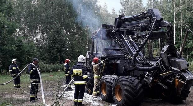 Pożary maszyn przy pracach leśnych