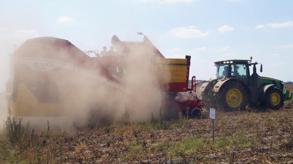 Za tumanem piasku dwurzędowy kombajn do ziemniaków EVO 290 z 9-tonowym zbiornikiem, podczas pracy.