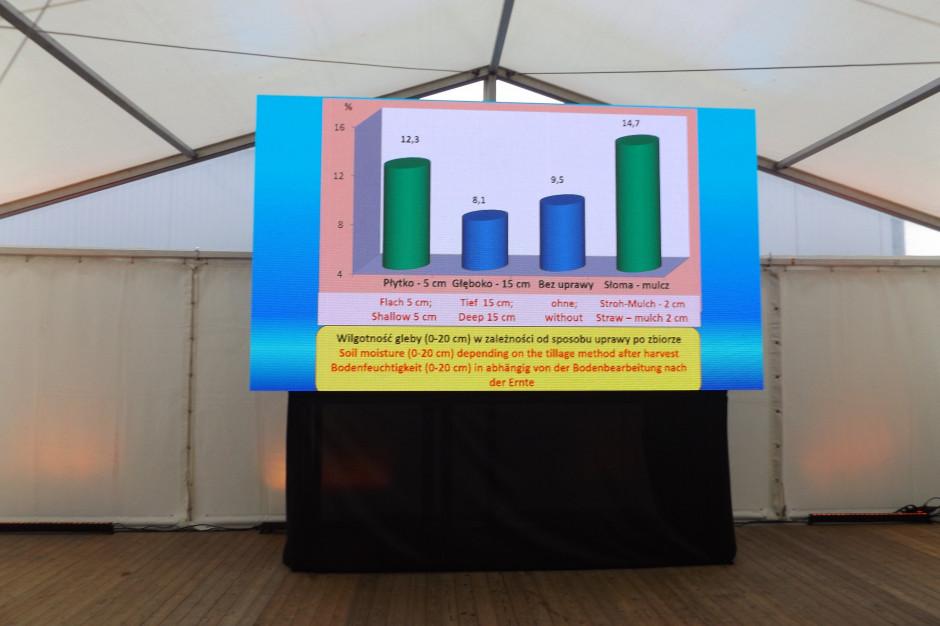 W prezentacji prof. Dariusza Jaskulski ego zostały przedstawione wyniki badań nad wilgotnością gleby w różnych systemach uprawy