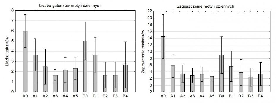 Liczba gatunków i zagęszczenie motyli w pasach kwietnych (A0, B0) i na polu marchwi (A1-A5, B1-B4).