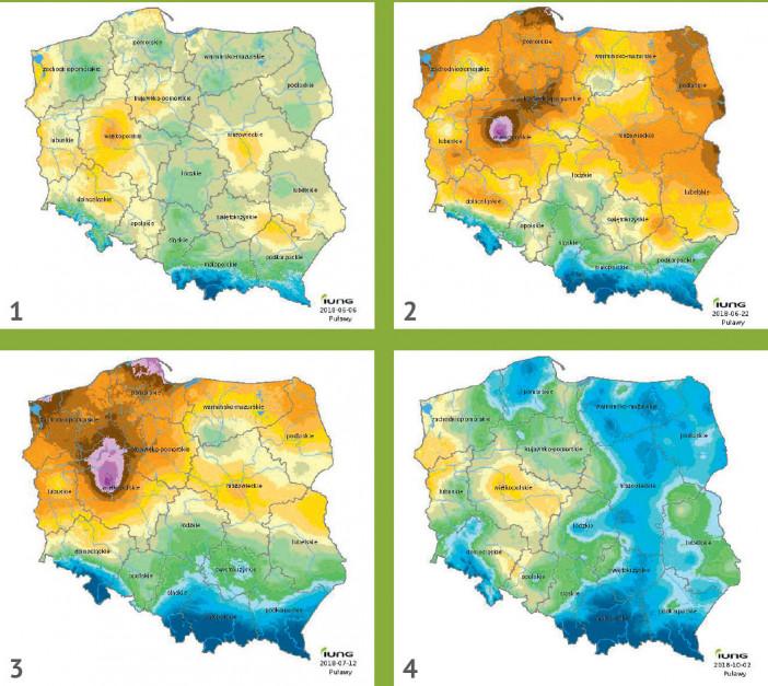 Monitoring suszy rolniczej w roku 2018 (wybrane raporty) IUNG PIB: w roku 2018 Instytut Uprawy Nawożenia i Gleboznawstwa w Puławach suszę rolniczą stwierdził w drugim okresie raportowania, tj. od 1 kwietnia do 31 maja 2018 roku. Średnia wartości Klimatycznego Bilansu Wodnego (KBW) dla kraju, na podstawie którego dokonywana była ocena stanu zagrożenia suszą, była ujemna i wynosiła -90 mm. Suszę zanotowano w uprawach: zbóż jarych, zbóż ozimych, truskawek, krzewów owocowych, drzew owocowych. Z biegiem czasu problem się zaczął pogłębiać (co widać na mapach). W czwartym okresie raportowania (do 20 czerwca 2018 r.) przeciętne KBW wyniosło -190,5 mm. Suszę stwierdzono wówczas we wszystkich monitorowanych uprawach: zbóż jarych, zbóż ozimych, roślin bobowatych, krzewów owocowych, warzyw gruntowych, truskawek, tytoniu, drzew owocowych, rzepaku i rzepiku, kukurydzy na ziarno, kukurydzy na kiszonkę, chmielu, ziemniaka i buraka cukrowego. W szóstym raporcie, od 11 maja do 10 lipca, wartość Klimatycznego Bilansu Wodnego wynosiła średnio -178 mm. – Najniższe wartości KBW występowały w Poznaniu i na terenach przyległych do tego miasta. Jednakże obszar ten uległ znacznemu zwiększeniu, a deficyt wody wzrósł o 10 mm i osiągnął od -260 do -269 mm. W dalszym ciągu bardzo duży deficyt wody wynoszący od -240 do -249 mm notowano na terenie nizin: Wielkopolskiej, Szczecińskiej oraz na Wysoczyźnie Żarnowieckiej. Natomiast odnotowano wzrost niedoboru wody na dużych obszarach Pojezierza Pomorskiego aż o 40 mm. Bardzo duże niedobory wody notowano również na Kujawach: od -200 do -239 mm – wynika z raportu. Co ciekawe, nawet w ostatnim 14. raporcie z roku 2018, IUNG stwierdził suszę rolniczą w uprawie rzepaku i buraka cukrowego