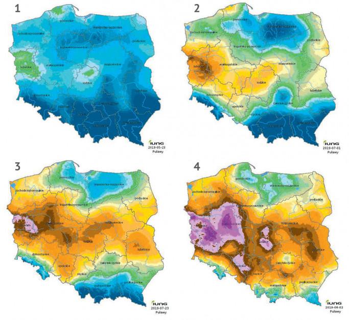 """Monitoring suszy rolniczej w roku 2019 (wybrane raporty) IUNG PIB: w roku 2019 niestety susza ponownie dała o sobie znać i to jeszcze wcześniej niż w roku ubiegłym. Stwierdzoną ją już w pierwszym okresie raportowania – od 21 marca do 20 maja 2019 r. Średnią wartość KBW oceniono na -48 mm. Według IUNG wystąpiła ona w takich uprawach jak: zboża jare i ozime, a także truskawki na terenie województw: lubuskiego, pomorskiego, zachodniopomorskiego i wielkopolskiego. Niestety z czasem właśnie w tych regionach problem z niedoborami wody był największy. Nasilił się on znacznie w raporcie 5., tj. od 1 maja do 30 czerwca 2019 r. notowano ją w 14 województwach, we wszystkich monitorowanych uprawach, na obszarze 28,09 proc. gruntów ornych. Średnia wartość KBW wynosiła wówczas -87 mm. Największy deficyt wody notowano na obszarze Pojezierza Lubuskiego, wynosił on od -230 mm do -239 mm. W 7. raporcie sytuacja ponownie się pogorszyła. Średnio KBW wyniosło -133 mm i """"tradycyjnie"""" było najniższe dla województwa lubuskiego: od -240 do -249 mm. W ostatnim, 8. raporcie, opublikowanym przed napisaniem tego artykułu, tj. od 1 czerwca do 31 lipca 2019 r. suszę stwierdzono we wszystkich uprawach i we wszystkich województwach, a średnio KBW wyniosło -173 mm. – W czerwcu było bardzo ciepło. W przeważającej części Polski temperatura powietrza wynosiła od 20 do 22°C (w I dekadzie) i od 22 do 24°C, a miejscami nawet do ponad 24°C (w II i III dekadzie). Najchłodniej było w północnej i południowej części kraju: od 19 do 20°C (w I dekadzie) i od 19 do 21°C w II i III dekadzie – wynika z raportu"""