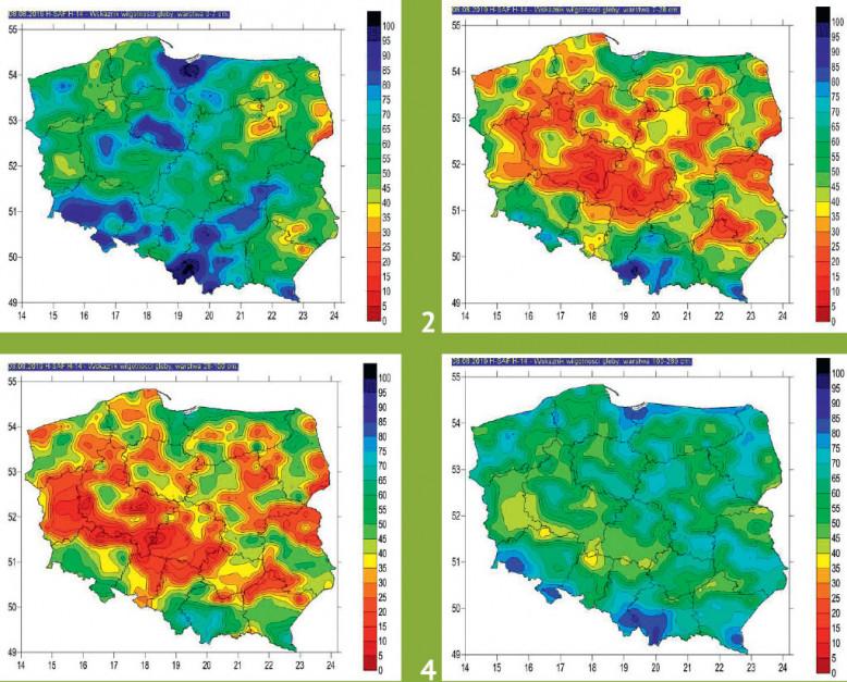 Mapy wskaźnika wilgotności gleby z 8 sierpnia w poszczególnych warstwach gleby (proc.) (źródło: IMGW PIB): wilgotność gleby (wyrażona w proc.) na głębokość do 7 cm, 8 sierpnia była satysfakcjonująca, gdyż lokalne opady deszczu z początku miesiąca przyczyniły się do poprawy sytuacji. Ale kolejna mapa z tego samego dnia obrazująca wyniki badania wilgotności w warstwie gleby od 7 do 28 cm pokazuje, ile tej wody faktycznie brakuje, podobnie jak na głębokości pomiędzy 28 a 100 cm. Dopiero mapa wilgotności na głębokość 100-289 cm normalizuje sytuację