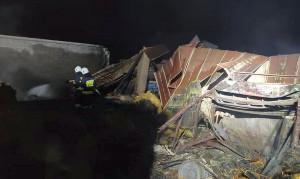 Pod zawalonym dachem i w ogniu zginęło 5 krów, Foto: OSP Janów
