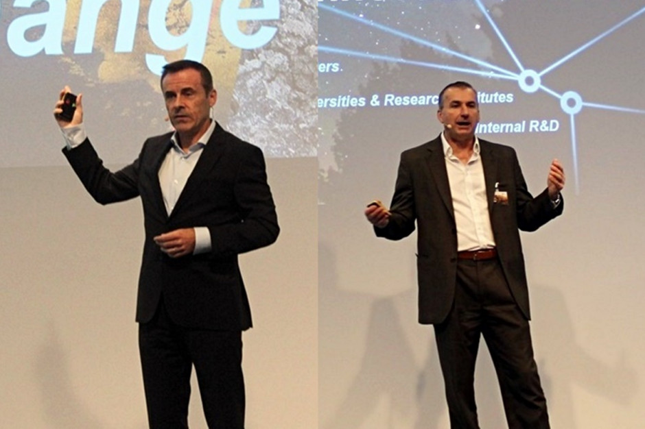 Liam Condon, członek zarządu Bayer i prezes działu Crop Science (z lewej) oraz Bob Reiter, dyrektor działu badawczo-rozwojowego Crop Science Fot. A. Kobus