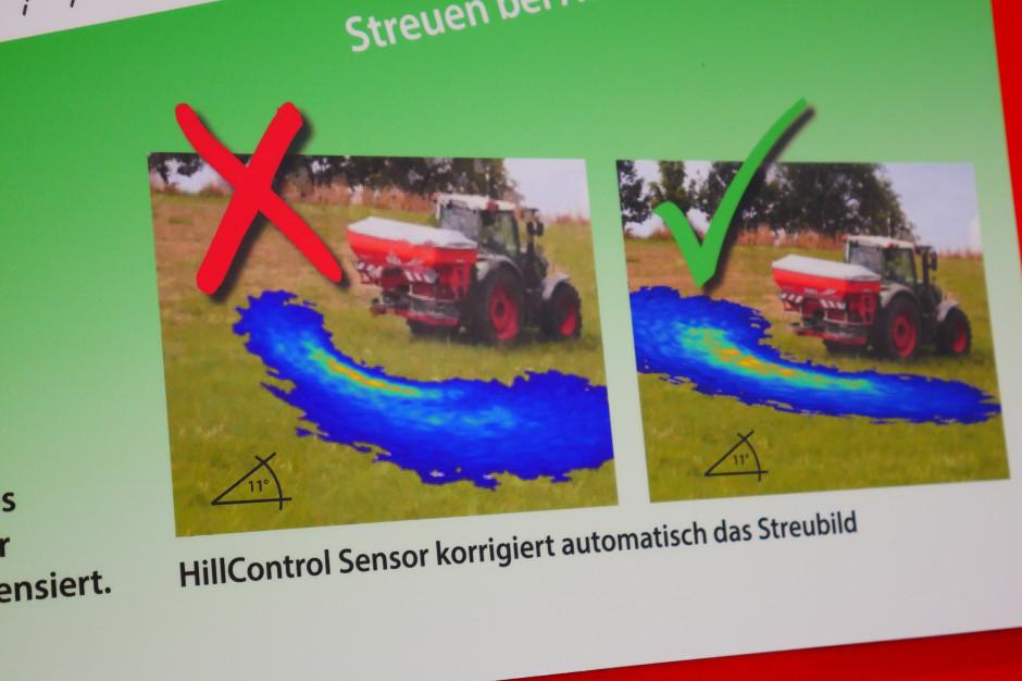 Obraz wysiewu na zboczu bez Hill Control i z wykorzystaniem systemu, fot. mw