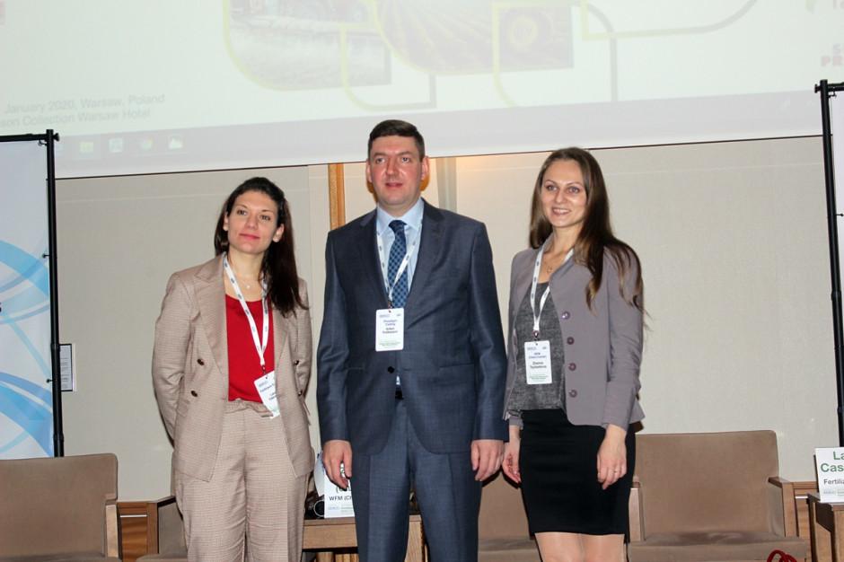 Od lewej: Laura Casuscelli (Fertilizers Europe), Artem Polikarpov (PhosAgro), Zhanna Glushko (WFM, Chem-Courier) Fot. A. Kobus